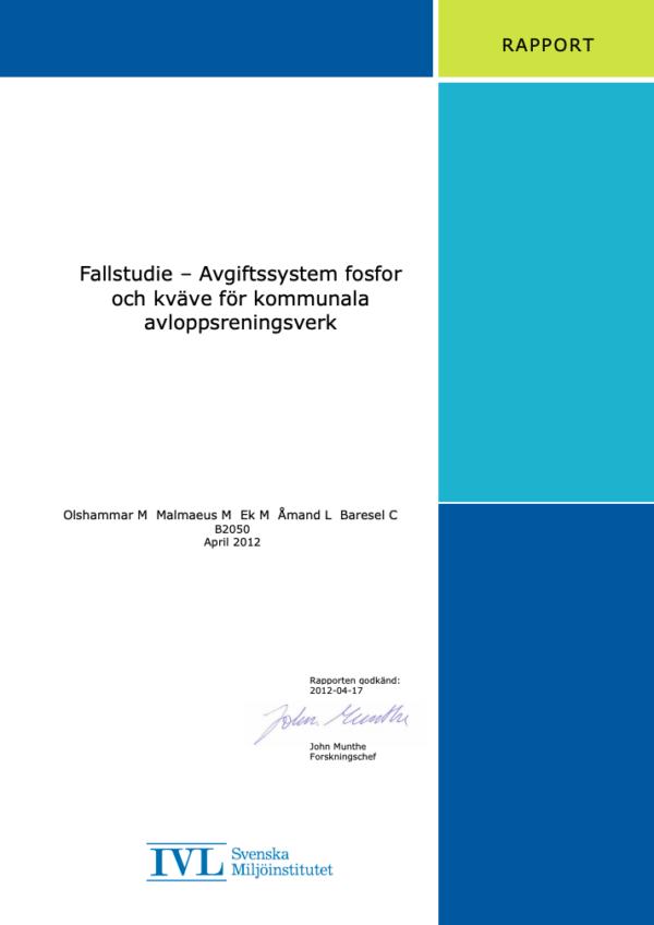 Fallstudie – Avgiftssystem fosfor och kväve för kommunala avloppsreningsverk