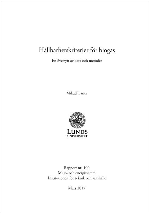 Hållbarhetskriterier för biogas – En översyn av data och metoder